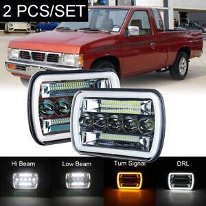 Pair 240W 2pcs 7x6 H4 LED Seal Headlight For Nissan Pickup Hardbody 240SX D21 NX