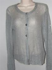 boden light gray silver nylon mohair cardigan ls sweater top size uk12 usa 8
