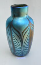 Blue Luster Vase With Red Pulled Feather Design. Saul Alcaraz