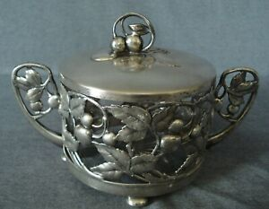 Art Nouveau WMF  Silver Plated  Sugar Bowl Cherry with glass