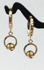 18k Solid Yellow Gold Cute Hoop Ball Dangle Earrings Diamond Cut Design.