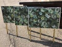 Rare Vintage Mid Century Modern TV Trays Monet Like Floral Set Of 3 MCM