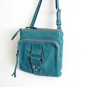 Vintage Perlina New York Teal Green Soft Leather Wallet Purse Square Bag