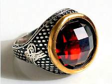 925 Sterling Silver Men's Ring with Handmade Real Precious Ruby and Tughra