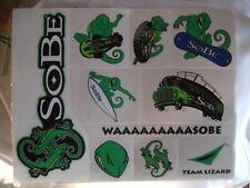 1990`S Sobe Team Lizard Skateboard Stickers Sheet Of 10 Nos Unused