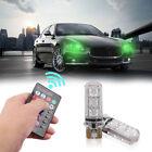 2x Remote 5050 6SMD RGB Control Car Light T10 Silica Gel Reading Interior Lamp