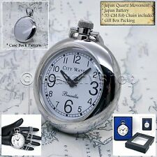 SILVER Antique Style Open Face Quartz Pocket Watch with Chain and Gift Box P195