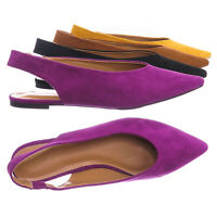 Justify38 Pointed Toe Sling Back Flats - Women Elastic Strap Closed Toe Loafer