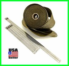 THERMAL HEADER PIPE TAPE TITANIUM LAVA EXHAUST WRAP 2 X 25 FT SS LOCKING TIES