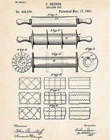 1891 Rolling Pin Patent Print Drawing Primitive Rustic Kitchen Wall Decor Ideas