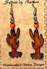 Southwestern Cactus Earrings Enameled Lightweight New Free Shipping #C5