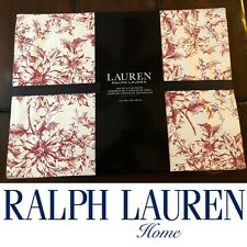 🎄Ralph Lauren Set Of 4 Placemats ⚪️🔴 White Red Poinsettias Print 🎄14 x 19""