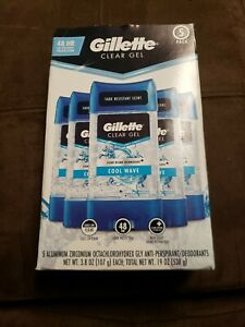 Gillette Clear Gel Men's Deodorant, Cool Wave (3.8 oz., 5 pk.)