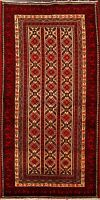 All-Over Balouch Afghan Oriental Area Rug Geometric Hand-Knotted Wool Carpet 4x7