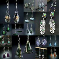 925 Silver Turquoise Moonstone Earrings Pearl Ear Hook Dangle Drop Gift Jewelry