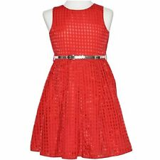 GIRLS size 9 RED Party DRESS silver belt Formal graduation wedding CHRISTMAS NEW
