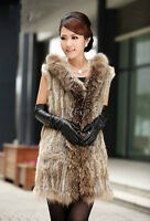 Real Knitted Rabbit Fur Long Vest Gilet with Raccoon Fur Collar Hooded Waistcoat
