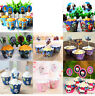 PACK OF 12 CUPCAKE WRAPPERS & CAKE TOPPERS JUNGLE ANIMALS BIRTHDAY PARTY SUPPIES