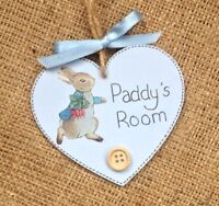 Personalised Name Plaque Round Bedroom Sign Girl Boy Baby PETER RABBIT Room ⭐