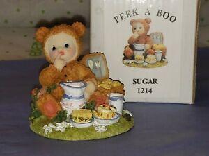 "Duncan Collection Peek A Boo Suagr 3"" Baby Bear Costume Picnic Figurine MIB"