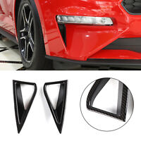 2Pcs Carbon Fiber ABS Daytime Running Light Cover Trim For Ford Mustang 2018-19