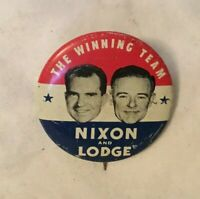 THE WINNING TEAM NIXON AND LODGE Picture Political Pinback Button