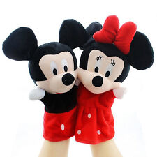 Kids Children Mickey Minnie Hand Glove Puppets Dolls Educational Soft Push Toys
