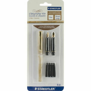 Staedtler S2BK Calligraphy Pen Set 8 pc Black Ink Cartridges Nibs Fine Broad