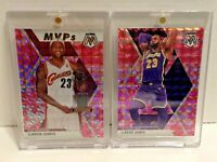 LeBron James 2019-20 Panini Mosaic Pink Camo Prizm (2) Card Lot: MVPs #298 & #8