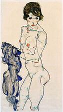 Egon Schiele Reproductions:  Nude with Blue Cloth - Fine Art Print