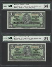 Canada 2 Notes One Dollar 1937 BC-21c Uncirculated PMG Graded 64