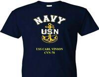 USS CARL VINSON  CVN-70  VINYL & SILKSCREEN NAVY ANCHOR SHIRT.