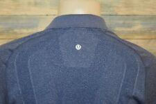 LULULEMON Men's S/S Nylon Spandex Mesh Polo Shirt Heather Blue Size Medium