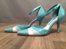 Enzo Angiolini Robbin Egg Blue Ankle Strap Mule Pumps Heels SZ 7 M