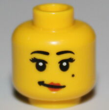 Lego Yellow Female Minifig Head Red Lips Crooked Smile Mole on Cheek