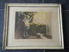 Vtg Bessie Pease Gutman Daddys Coming Original Framed Print