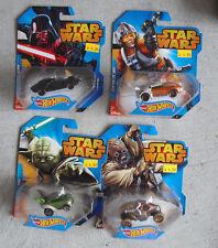 Lot of 4 2014 Hot Wheels Star Wars Cars Yoda Luke Darth Vader Tusken Raider Nip