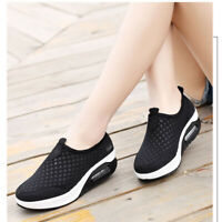 US Women's Mesh Wedge Shoes Platform Sneakers Running Sport Casual Trainers Sz