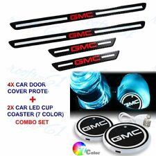 Carbon Fiber Door Plate Sill Door Scuff Cover Panel Sticker+ LED Coaster For GMC