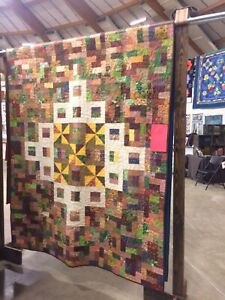 """Lumber Yard Pieced quilt,66""""x88"""" Pieced Backing, Professional Quilted"""