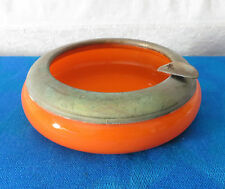 Jugendstil Aschenbecher_Orange Glas_Metall Montierung