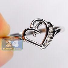 10K White Gold 0.15 ct Channel Set Diamond Womens Heart Band Ring