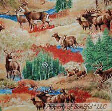 BonEful Fabric FQ Cotton Quilt Brown Blue Green Deer Scenic Buck Doe Tree Water