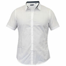Mens Shirts Brave Soul Short Sleeved Slim Fit Mombassa Plain Collared Summer New