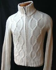 ABERCROMBIE & FITCH ZIP FRONT SWEATER, LAMBS WOOL BLEND, IVORY SZ L