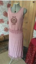 Riot Dress Pink Hippy Gypsy Bohemian Embroidered Fringing Pagan Handfasting S/M