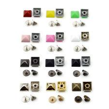 10/50/100pcs Alloy Pyramid Square Studs Spikes+Screw Spot Rivet DIY Leathercraft