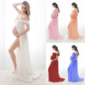 Women Off Shoulder Pregnant Lace Long Maxi Dress Maternity Photo Shoot Gown