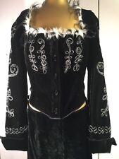 ANNA SUI Boho Black Velvet Crop Jacket Ribbon Embrodered Faux Fur & Skirt Size M