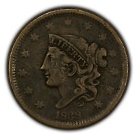 1838 1c Coronet Head Large Cent - Mid-Grade Details - SKU-Y2618